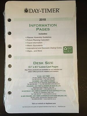 Day-Timer 2018 Information Pages with Bookmark Desk Size NEW Free Shipping!