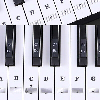 Music Keyboard /Piano Stickers 88/61/54/49 Key Set Learn to Play Faster Beginner