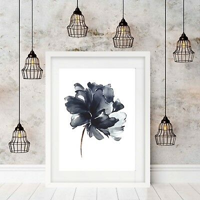 Wall Art Print, Poster, Indigo Blue Watercolour Flower Home Decor, Unframed