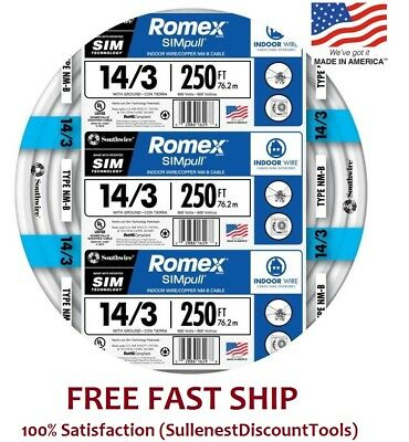 Romex 250' Roll 14-3 AWG Guage NM-B Indoor Electrical Copper Wire Cable w Ground