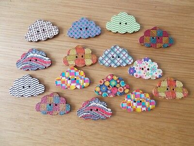 10 WOOD SEWING BUTTON CAT ANIMAL SHAPE  ASSORTED   CRAFTS//SCRAP BOOKING #02