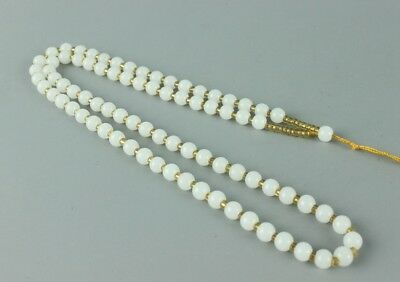Chinese hand-woven white jade Men and women necklace