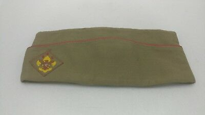 Vintage Boy Scouts Of America BSA Patch Olive Green Garrison Cap/Hat Medium