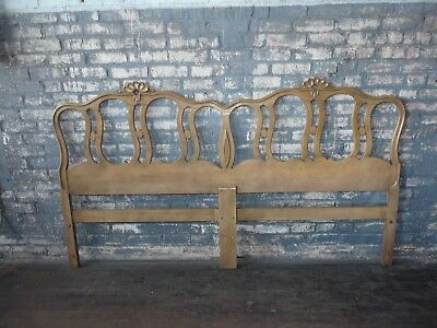 Vintage French Provincial King Headboard Art Deco Stylized Shell Mid Century
