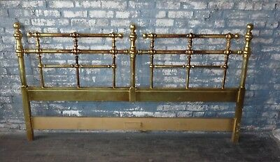 Gold Gilt Faux Iron or Brass Victorian King Headboard Stick and Ball