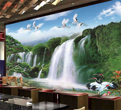 Cranes Play Waterfall 3D Full Wall Mural Photo Wallpaper Print Home Kids Decor