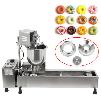 Commercial Full-Automatic Donut Maker Making Machine Wide Oil Tank W/ 3 Set Mold