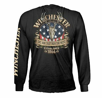 Winchester Official Mens Cotton Southern Rebel Skull Graphic Long Sleeve T-Shirt