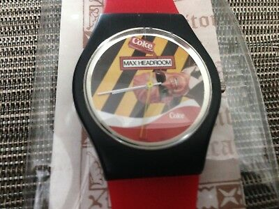 Coca Cola Coke vintage Max Headroom Wrist Watch works good adult size w. case