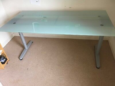 Ikea Galant Desk With Glass Top Silver Legs And Opaque Pale Green Glass