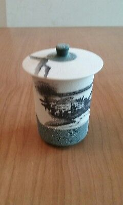 Hand painted Asian Teacup with Lid