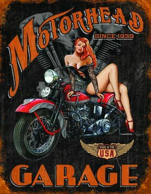 Retro Motorcycle Harley Pin Up Metal Sign Picture Garage Shop Bar Decor Gift