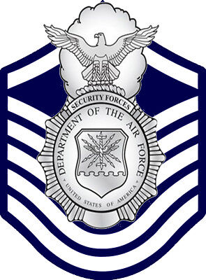USAF SECURITY POLICE (SP) Badge and E-7 Stripes Decal