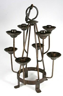Antique Wrought Iron Hand Forged Hanging Or Tabletop Gothic Medieval Candelabra