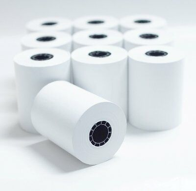 """2 1/4"""" x 85' White Thermal Paper Credit Card & Cash Register Tape - 10 Rolls"""