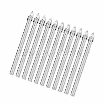 10Pcs Ceramic Tile Drill Bit Tool Cemented Carbide Triangle Spear Point Head 6mm