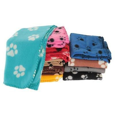 Soft Warm Paw Print Fleece Blanket Mat Cover For Pet Cat Puppy Dog Lovey SH