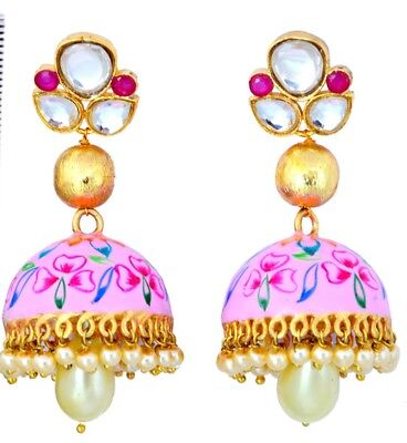 Indian Ethnic Jhumka Jhumki Earring Bollywood Handmade Kundan Mina Pearl Jewelry