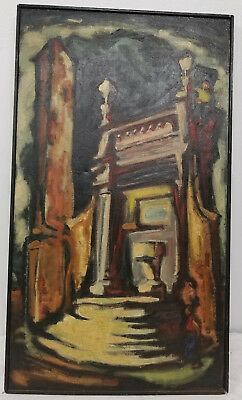 Antique Vintage MCM Abstract Oil Painting Asian Orientalist Signed Underhill