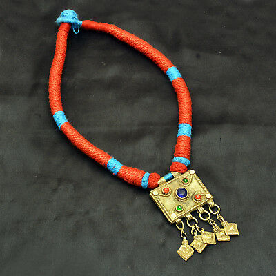 Real Afghani Vintage Jewelry Thread Necklace Ethnic Tribal Authentic Antique Pc.