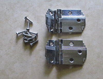 Vintage pair of cabinet door offset hinges bright chrome plated step edge Deco