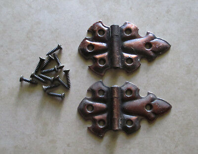 Vintage pair of butterfly flush hinges with copper flash by Stanley Hardware Co
