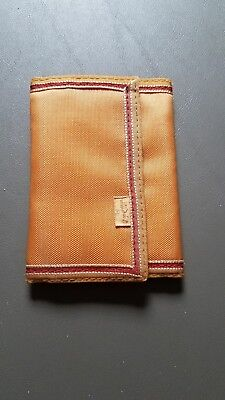 Vintage Levi's Orange Nylon Velcro Bifold Wallet 1980s Red Trim