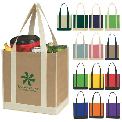Custom Shopping Bag Tote Insulated Non Woven Two Tone Promotional Branded Qty150