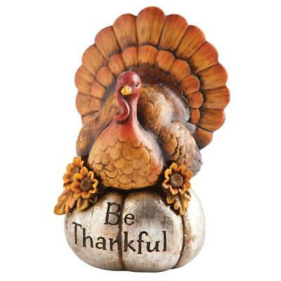 Decorative Be Thankful Hand-Painted Thanksgiving Turkey Tabletop Centerpiece