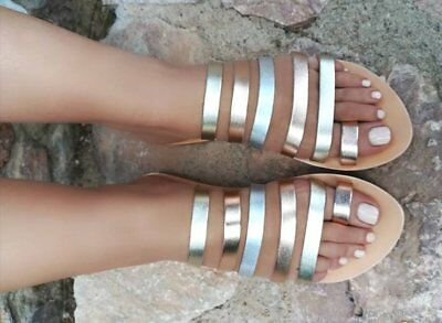 Ancient Greek style metallic strappy real leather slide sandals handmade