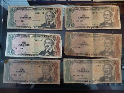 LOT OF DOMINICAN REPUBLIC PESOS ORO NOTES 50's 20's 5's and 1's 18 in total