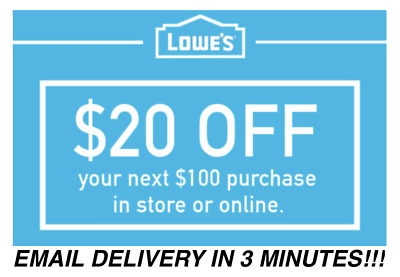 Three (3X) $20 Off $100 Lowes Instant Delivery-3Coupons Instore/online 01/31/19