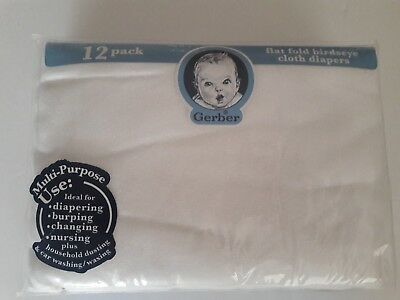 "Gerber Flat Fold 12 PACK Birdseye 100% Cotton Cloth Diapers 24"" X 27"" White"