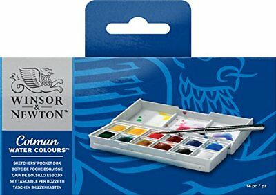 Winsor and Newton Cotman Watercolour Set Sketchers Pocket Box 12 Half Pans F/S M