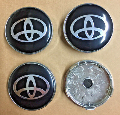 Toyota Black/Silver Wheel Centre Caps Set Of 4 Badge 60mm By 58mm Universal UK