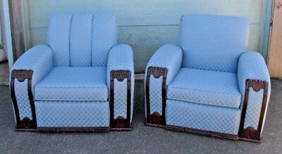 PR vintage CLUB CHAIR overstuffed WATERFALL ART DECO style DELIVERY POSSIBILITY