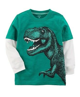"""Carter's Boys ~""""T Rex"""" Long-Sleeve Layered-Look Jersey Tee ~ 9M ~ New w/tag"""