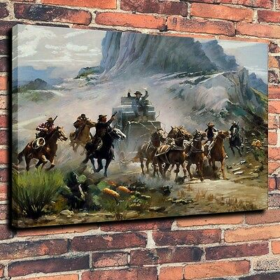 Home Decor Art Canvas Print,oil Painting a Western attack on a stagecoach 16x20