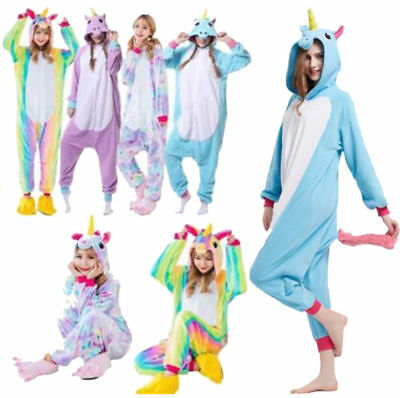 Adult/Kids Unicorn Animal Sleepwear Kigurumi Pajamas Cosplay Halloween Costume