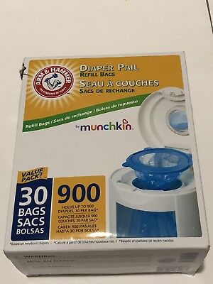 Munchkin Arm & Hammer Diaper Pail Snap Seal and Toss Refill Bags 900 Ct NEW