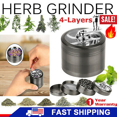 4 Piece Magnet & 3 Chambers  2.5 Inch Grey Tobacco Herb Grinder Spice Scoop