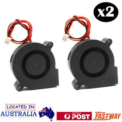 2x 50mm DC 12V Brushless Blow Radial Cooling Fan Air Blower For 3D Printer Part