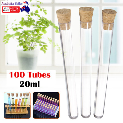 100/200x 20ML Volume Plastic Test Tubes With Cork Stopper Candy Party Wedding AU