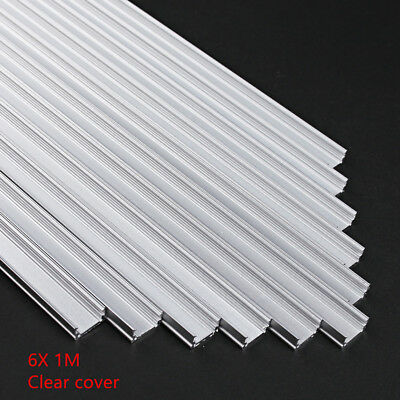 6x 1M Aluminium Profile Alloy Channel Bar Diffuser Track Led Strip Light Channel