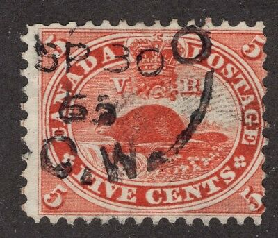 Canada  #15 5c   SPLIT RING   ' SP 30 65 C.W.'   FIRST CENTS ISSUE 1859-64 FINE