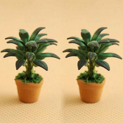 1/12 Dollhouse Miniatures Green Plant in Pot Potted Tree Mini Plants Home Decor