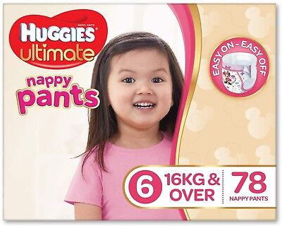 Huggies Ultimate Nappy Pants,Girls, Size 6 Junior (16+kg), 78 Count