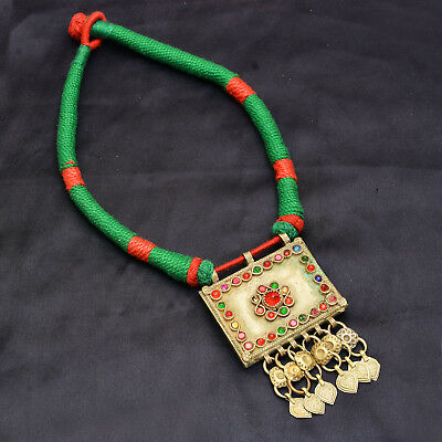 Real Afghan Vintage Jewelry Necklace Green Ethnic Authentic Antique Piece Diwali