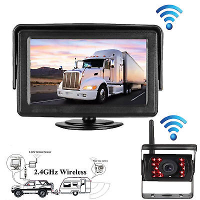 "Wireless 7""HD Monitor  IR Night Vision Rear View Camera For RV Truck Bus Trailer"