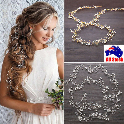 1 Piece Pearls Wedding Hair Vine Crystal Bridal Accessories Diamante Headware AU